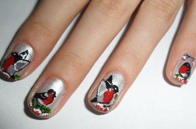новогодние ногти птицы