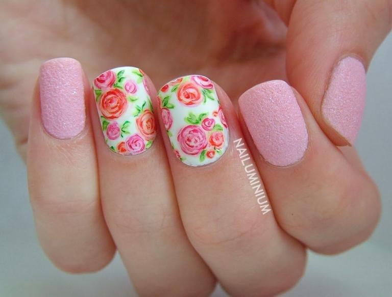 Фото рисунков для ногтей нежный розовый