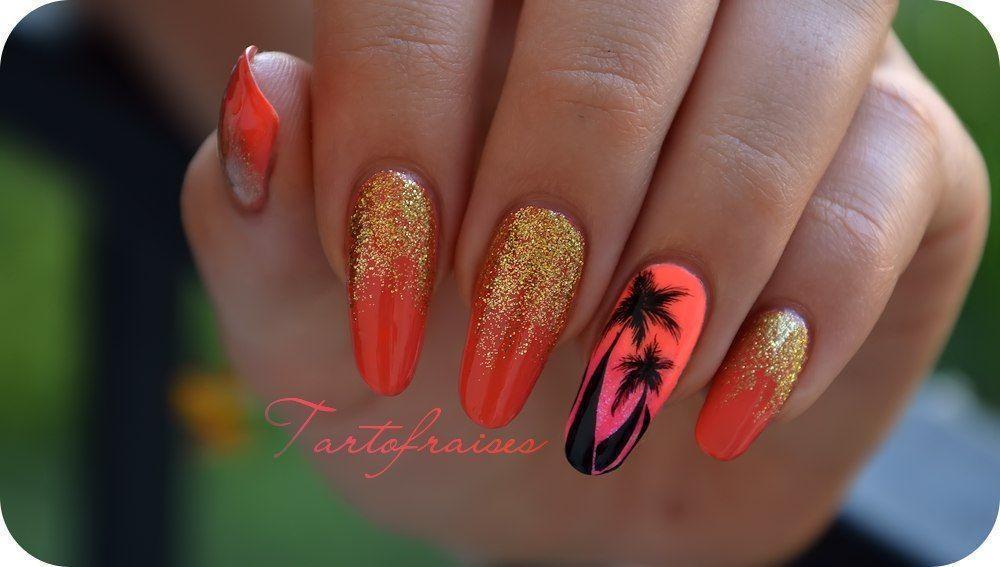 пальма на ногтях яркий nail