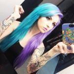 сиренево-голубые волосы