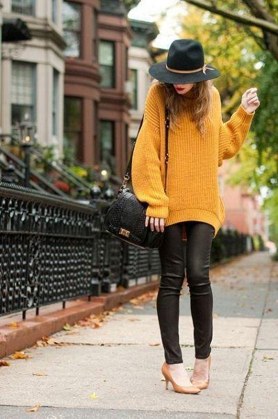 свитер кожа брюки