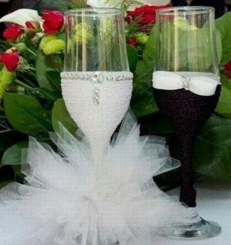 Украшение на бокалы жениха и невесты своими руками