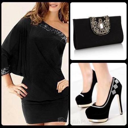 black-one-shoulder-evening-dress-combination