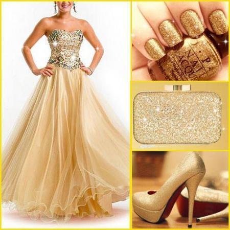golden-bright-strapless-evening-dress-combination