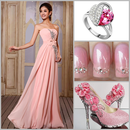 pink-strapless-tulle-evening-dress-combination