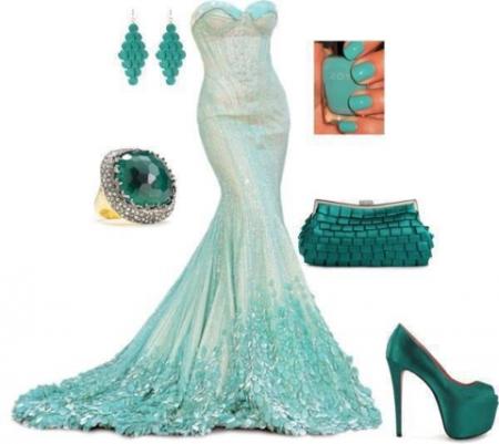 strapless-mermaid-blue-night-dress-combination