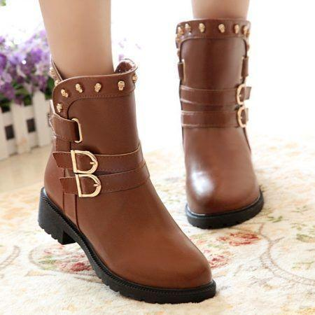 2014-european-and-american-winter-buckle-boots-flat-boots-women-boots