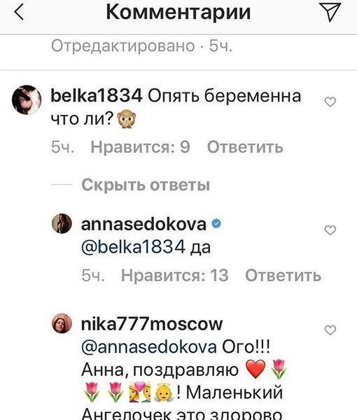 Анна Седокова подтвердила беременность четвертым ребенком